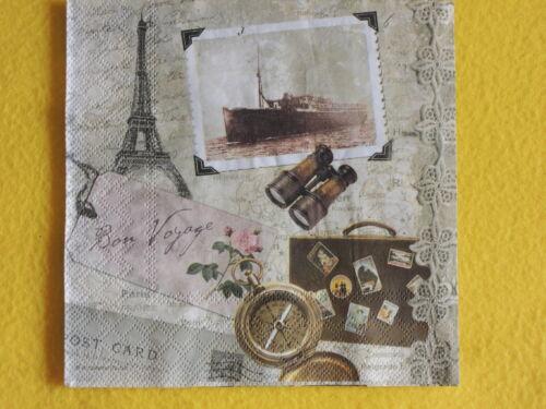 5 Servietten Bon Voyage Eifelturm Paris Serviettentechnik Brief Koffer Schiff