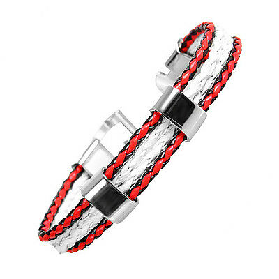 Unique Unisex Cool White, Red & Black Genuine Leather Cuff Bracelet with Silver