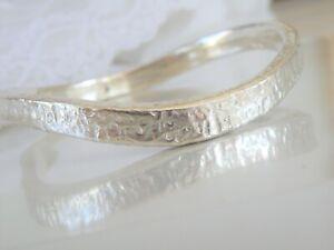 Modern-OS-Sterling-Silver-925-Electroform-Organic-Bangle-Wrap-Bracelet-Fits-8-034
