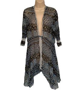Soft Surroundings Women's Size XL Tunic Top Floral Sheer Silk Deep VNeck Blue