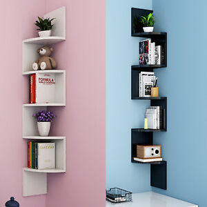 Image Is Loading 5 Tier Corner Shelf Rack Floating Wall Shelves