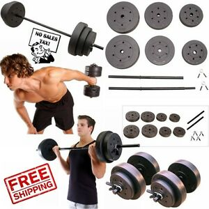 Details about Weight Sets 140lbs Barbell Dumbells Home Gym Fitness  Equipment Build Muscle