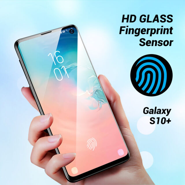 new style b8b54 91cc4 For Samsung Galaxy S10 Plus Full coverage Tempered Glass Screen Protector