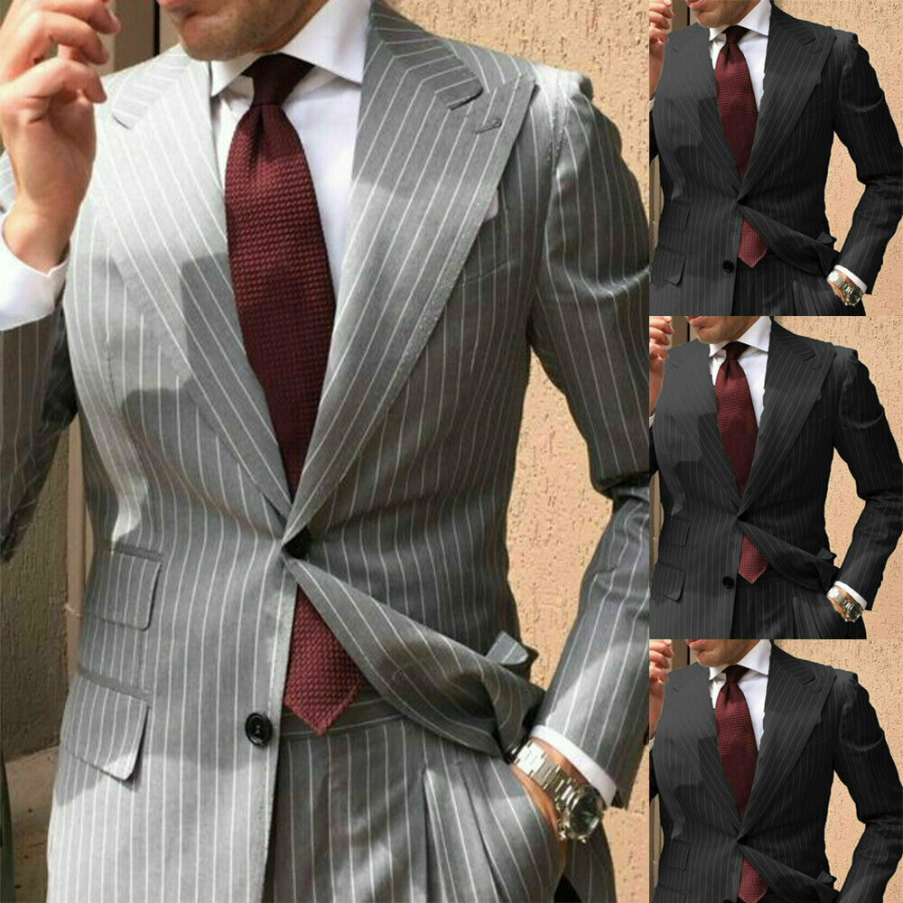 Gray Striped Wedding Groom Mens Tuxedos Business Party Suit Tailored Fit Custom