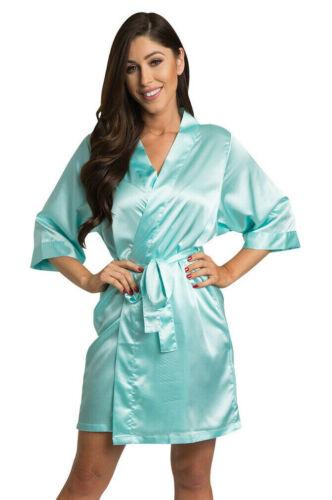 Aqua Satin Robe-Satin Bridal Party Robes-Factory Seconds-Save $32.99 DEAL