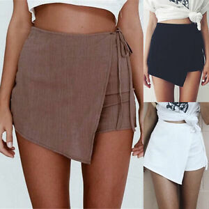 Womens-Skorts-Shorts-Skirt-High-Waisted-Casual-Irregular-Flanging-Wrap-Culottes