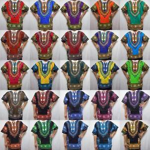 Dashiki Mens Shirt African Hippie Vintage Womens Top Boho Tribal Blouse One Size