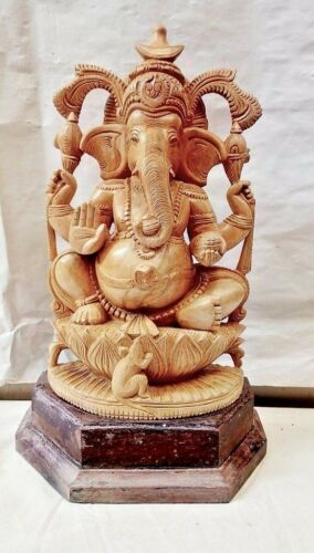 Hindu God Ganesha Sculpture Cedarwood Ganesh Statue Temple Yoga Figurine Idol