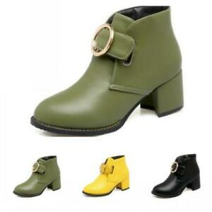 Women OL Pumps Chunky Heel Round Toe Winter Autumn Ankle Boots Outdoor 34/48 D