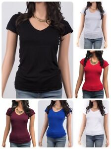 Women-Basic-Short-Sleeve-Stretch-V-Neck-Plain-Top-Solid-Color-T-Shirt-S-L