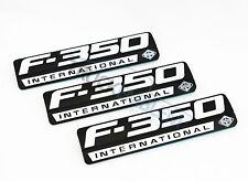3 NEW CUSTOM MATTE BLACK & WHITE F350 POWERSTROKE INTERNATIONAL FENDER BADGES