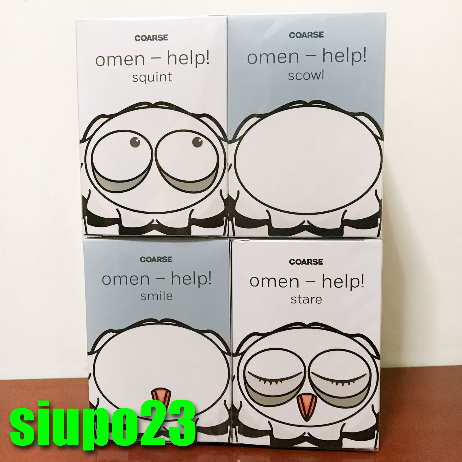 Coarse Coarsetoys ~ Omen help Squint, Scowl, Smile & Stare 3.5  Vinyl Figure 4p