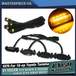 4PCS-Smoke-Front-Grille-Amber-LED-Lights-for-16-up-Toyota-Tacoma-w-TRD-Pro-Grill
