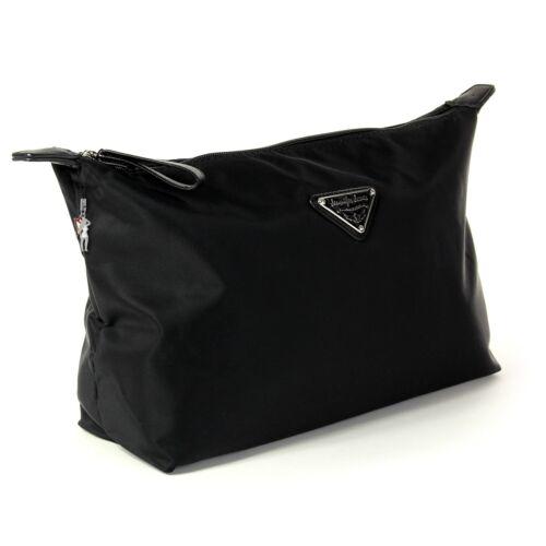 Kulturtasche Waschtasche schwarz Nylon Kosmetiktasche OTJ702S