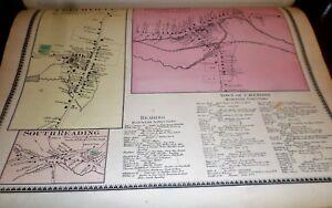 1869 MAPS VILLAGES OF PROCTORSVILLE, FELCHVILLE & SOUTH  READING VT WINDSOR CO