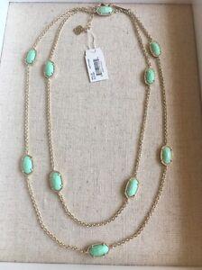 b1afee77f New Kendra Scott Kellie Long Necklace Mint Green & Gold Versatile | eBay