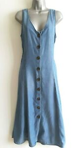 NEXT Soft Blue Denim Button Through Dress, Size 12, Belted, Pockets - BNWT