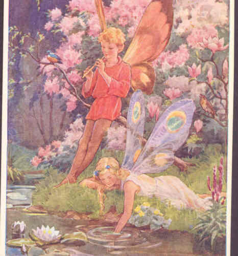 """FANTASIA"" FAIRY,ETHEREAL FAIRIES DREAM BY STREAM,WATER LILY,TARRANT POSTCARD"