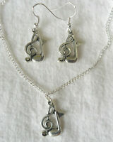 Music notes, choose earrings or necklace or both