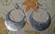 Silpada Etched Flower Basket Hoop Sterling Silver Earrings - W2378