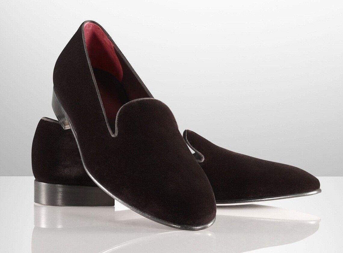Homme Fait à la main Chaussures velours Noir Mocassin pantoufles en cuir formelle Wear Casual démarrage