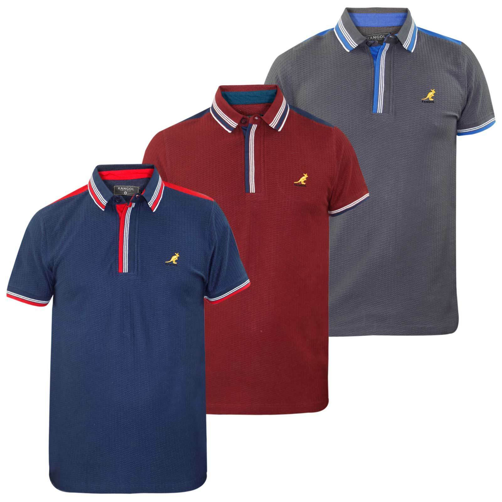 c62670ae Details about Mens Kangol Brand Polo T Shirt Contrasted Designer Top Self  Patten Fabric