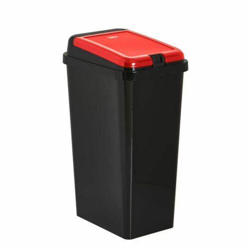 Plastic Touch Top Bin Red Lid Recycling Kitchen Dustbin Slimline Recycle Bins