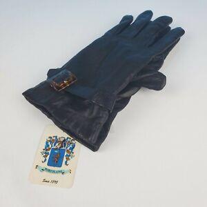 Portolano-Black-Leather-Cashmere-Lined-Gloves-Sz-7-Nwt