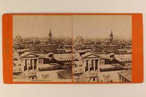 Italia-Milan-Panorama-c1875-Foto-Stereo-Vintage-Albumina