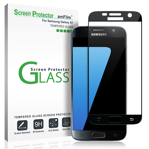 amFilm Samsung Galaxy S7 Full Cover Tempered Glass Screen Protector (Black)