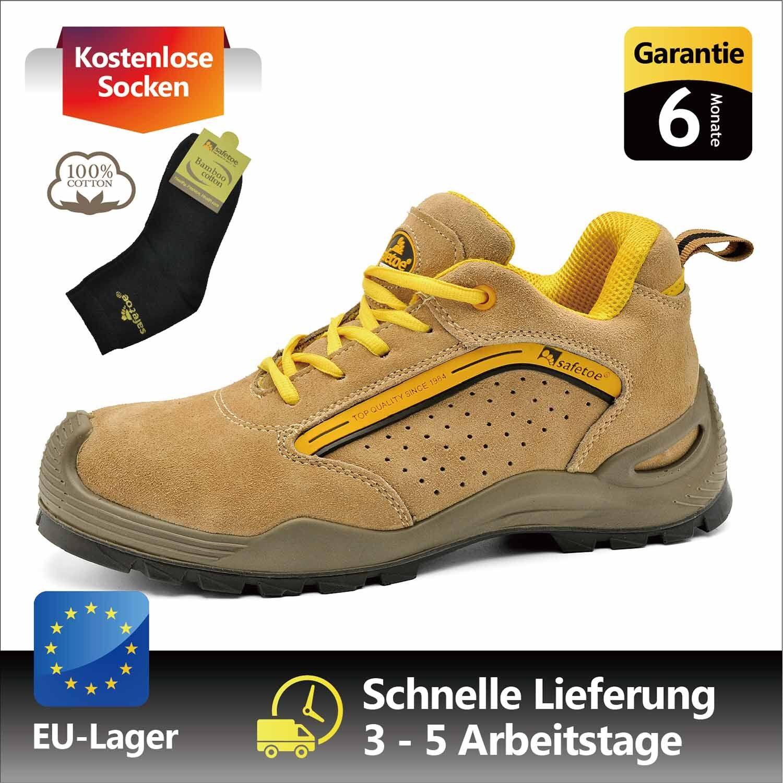 Safetoe Sicherheitsschuhe Arbeitsschuhe Stahlkappe Leder Atmungsaktiv EU
