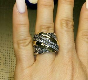 Two-Tone-Sterling-Silver-amp-9k-Gold-Ring-size-N-SAME-DAY-SHIPPING