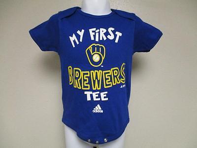 """Fanartikel Sammlung Hier Neu """" Mein Erstes """" Milwaukee Brewers Adidas Kleinkind 12m Blau Creeper"""