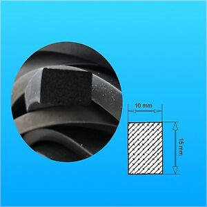 Dichtung,Vierkant,Profil Moosgummi EPDM 15 SH 5 m Moosgummi Rechteck 10x15 mm