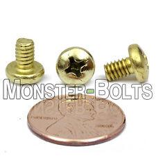 "#8-32 x 1/4"" - Qty 10 - Brass Phillips PAN HEAD Machine Screws"