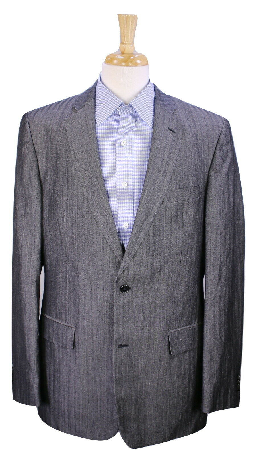 JOHN VARVATOS  grau Tonestripes Wool-Linen 2-Btn Sportcoat Blazer 42L