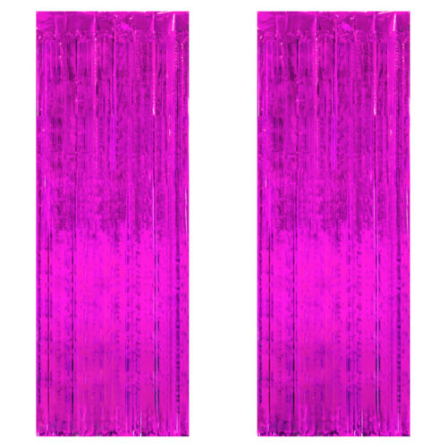 2pc 3x8ft Foil Fringe Curtains Photo Booth Prop for Birthday Party Wedding Decor