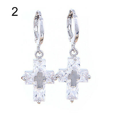 Women's New Elegant Luxury Cross Zircon Ear Pins Hoop Dangle Eardrop Earrings