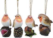 Set of 4 Robin Christmas Tree Ornaments NEW   19601
