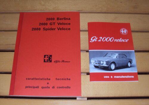 Uso e manutenzione Alfa Romeo GT 2000 Veloce Manuale OFFICINA