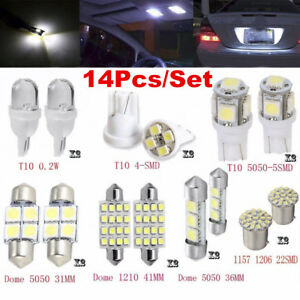 14Pcs-White-LED-Interior-Package-Kit-For-T10-36mm-Map-Dome-License-Plate-Lights