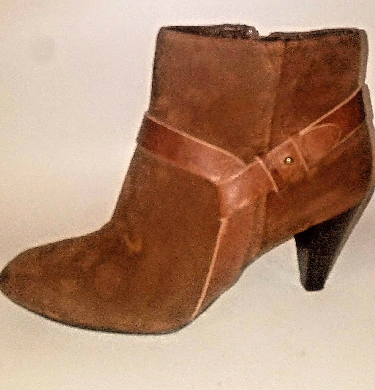 Cole Haan 9M Brown Suede Brown Leather Harness Ankle Boots MSRP
