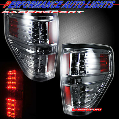 "2009-2013 FORD F150 ""L.E.D."" LED TAIL LIGHTS CHROME HOUSING SMOKE LENS PAIR"
