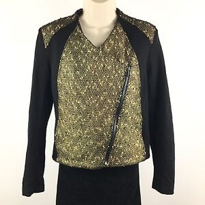 Karen-Kane-Women-039-s-Fast-Lane-Black-Gold-Foil-Metallic-Moto-Jacket-228-Sz-Small