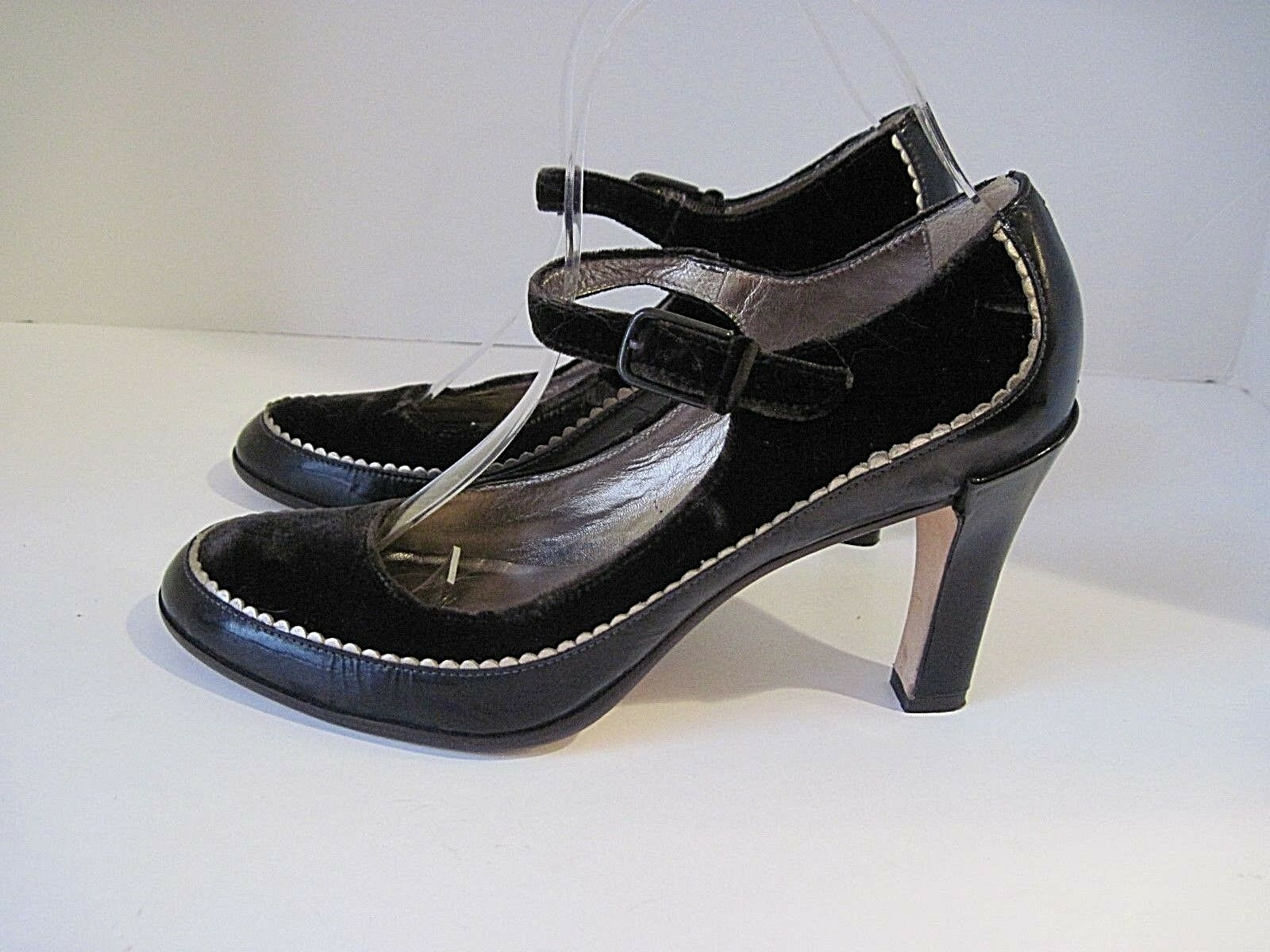 Cole Haan Brown Leather And Shimmering Velvet Mary Jane Pumps Size 8B
