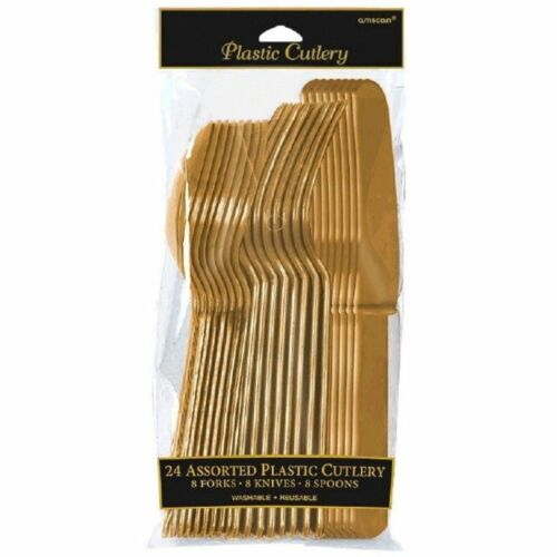 Amscan 24 Oro Cubiertos Surtido 8pc cucharas cuchillos y tenedores de cada uno de
