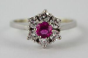 Ring-18K-750-Weissgold-mit-Rubin-0-52-ct-amp-Diamanten-Brillanten-0-59-ct-Wesselton