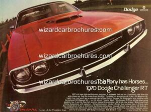 1970 DODGE CHALLENGER R/T A3 POSTER AD ADVERT ADVERTISEMENT SALES BROCHURE MINT