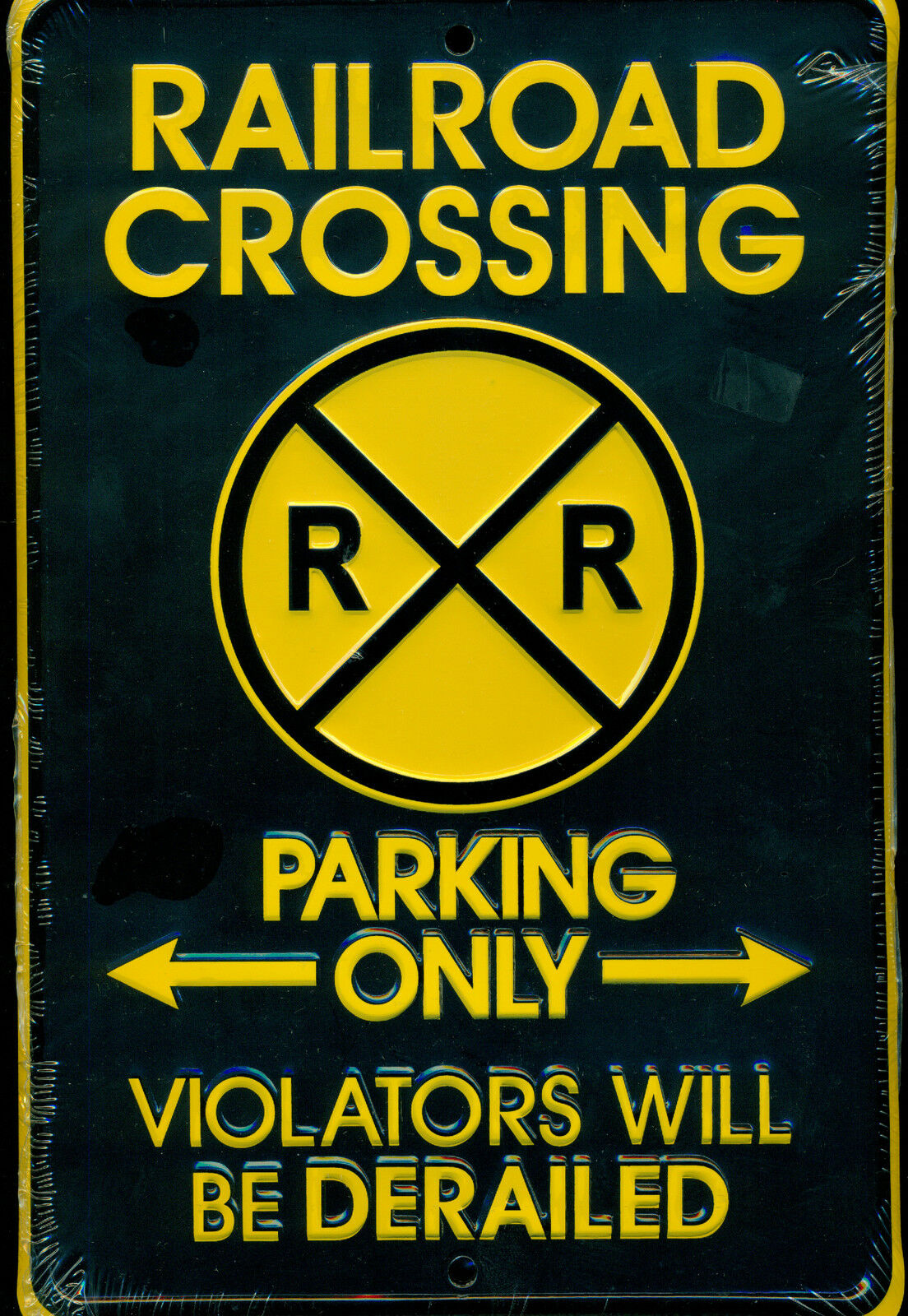 Railroad Crossing Parking Only purpletors Derailed Metal Collector Sign Brand New
