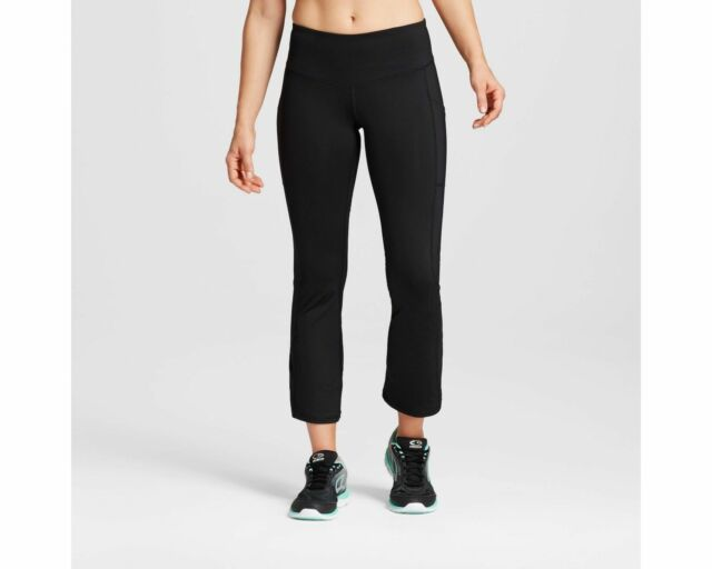4932dad0b6ae C9 by Champion Women s Black Embrace Flare Crop Workout Pants Size Medium